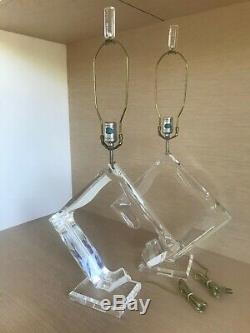 Pair Signed Van Teal Lucite Lamps, Excellent Condition, Sculptural