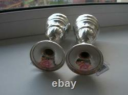 Pair Solid Sterling Silver 925 Wine Goblet Cups with Tag Signed 164 gr