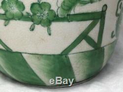 Pair Unusual Green & White Porcelain Lotus Oriental Ming Dynasty Style Vases
