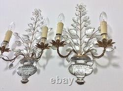 Pair Vintage French Maison Bagues Paris Wall Lamp Crystal Flower Signed 1950's