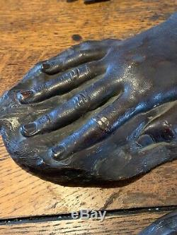 Pair Vintage Hand Sculptures Cast Plaster Signed Sculptor Emilio Pachas 1939 Art
