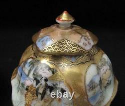 Pair Vintage Japanese Kutani Hand Painted Porcelain Lidded Hexagonal Pots Signed