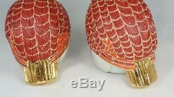 Pair Vintage Japanese Kutani Quails Birds Porcelain Figurines Gold Gilt Signed