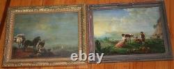 Pair of 1881 Antique Oil Painting Museum Quality Horse Traveling Cow Pasture