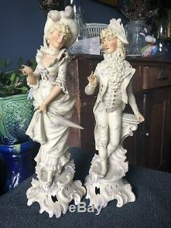 Pair of Antique BISQUE Porcelain Figurines 15 1/2 high, FRENCH, SIGNED