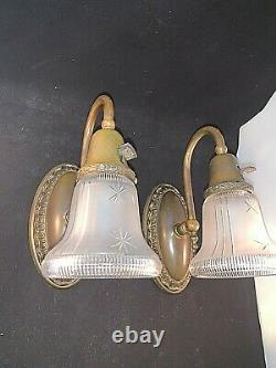 Pair of Antique Brass Sconces, Signed 1912 Gillander shades
