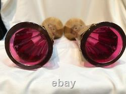 Pair of Antique CRANBERRY GLASS Vases with Gold Overlay & Green Jewels, Signed