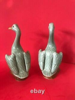Pair of Antique Chinese Export Porcelain Celadon Ducks 23cm Green Glaze