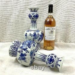 Pair of Antique Delft Pottery Blue White De Porceleyne Fles Hand Painted Signed