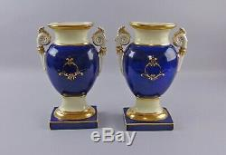 Pair of Antique Hand Painted Porcelain Vases Old Paris or Danish G&C Signed