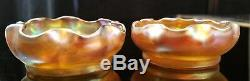Pair of Antique L. C. T. Louis Comfort Tiffany Gold Favrile Art Glass Salt Cellars