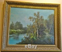 Pair of Antique Original Oil on Canvas Paintings. Signed. 1880. Europe