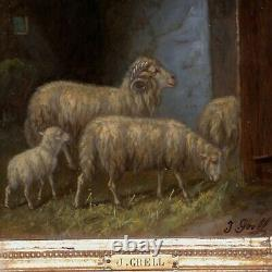 Pair of Antique Paintings of Sheep in Barns in Fabulous Original Frames