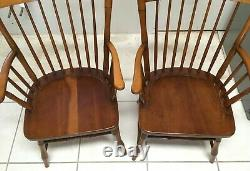 Pair of Antique Signed L & JG Stickley Cherry Valley Windsor Arm Chairs