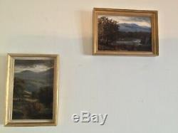 Pair of Antique vintage gilt framed original signed oil paintings
