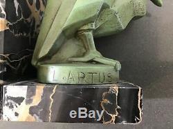 Pair of Art Deco Pelican Bookends signed L. Artus (Max Le Verrier)
