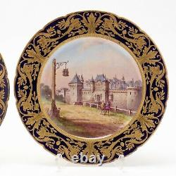 Pair of Artist Signed, Beautiful Antique Sevres Porcelain Cabinet Plates