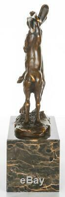 Pair of Bronze Hares Boxing on Solid Marble Base Signed 24cm High