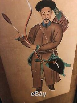Pair of Chinese Hanging Scrolls Qing Dynasty Antique Warriors Signed imperial
