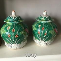 Pair of Chinese export Cabbage Leaf & Butterfly signed lidded vases temple jars