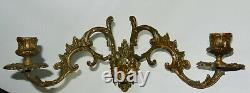 Pair of E. Muller Signed Bronze French Antique Piano Wall Sconce Candleholders