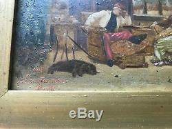 Pair of Framed Antique SIGNED Oil on Board Paintings French signature
