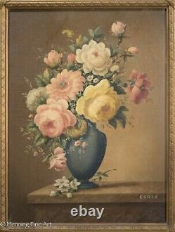 Pair of French Antique / Vintage Oil Paintings Floral Still Life Signed Corbe