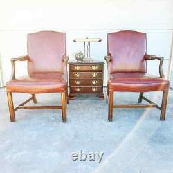 Pair of KITTINGER Presidential Chippendale Mahogany Leather Arm Chairs Signed