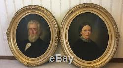Pair of Large Signed Antique 19thC Oil Formal Portraits Paintings of Man & Woman