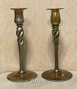 Pair of Large Signed Antique Steuben Art Glass Aurene Iridescent Candlesticks