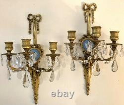 Pair of Louis XVI Signed Caldwell & Company Wedgwood Wall Sconces Dore Bronze