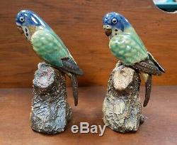 Pair of Mid 20th Century Chinese Shiwan Pottery Parrot Figurines