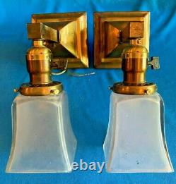 Pair of Mission Arts & Crafts Wall Sconces with signed Jefferson shades