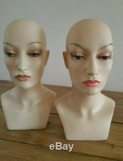 Pair of Rare Vintage Shop Manniquin Heads signed Camaflex Paris Shop Display
