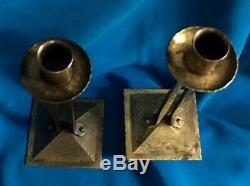Pair of Roycroft Princess Hand Hammered Copper Candlesticks Candle Holder Signed