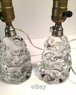 Pair of Signed Baccarat Crystal Glass Boudoir Lamps, Very Rare