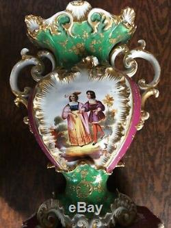 Pair of Signed Jacob Petit porcelain Vases With Romantic & Floral Hand Painted
