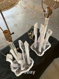 Pair of Signed Van Teal Mid-Century Modern Lucite Lamps