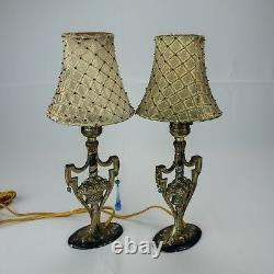 Pair of Signed Vintage Cast Metal Painted Boudoir Lamps With Shades