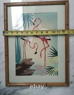 Pair of Vintage Florida Flamingo Paintings Signed Miljean