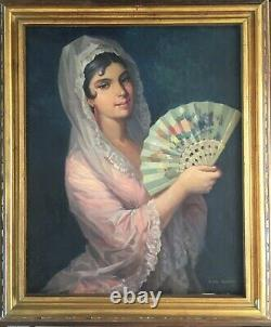Pair of Vintage Framed Spanish Oil Paintings of Young Couple by JUAN ANTONIO