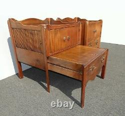 Pair of Vintage Handmade French Country Tambour Nightstands Signed Rennick 1955