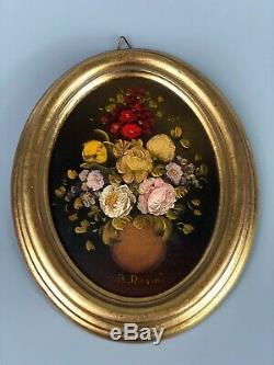 Pair of Vintage Old Original Oil on Board Oval Paintings Signed R. ROSINI Rare