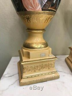 Pair of Yellow Porcelain 24k Gilded Accented Vases, Signed