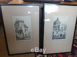 Pair of ebonised framed signed F Robson antique etchings of Oxford