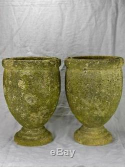 Pair of vintage Italian garden urns signed, cement 18