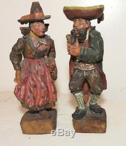 Pair rare MUSEUM hand carved wood Carl Hallsthammar Folk Art figural sculpture