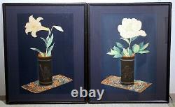 Pair vintage Japanese floral wood block prints Bakufu Ohno signed matted framed
