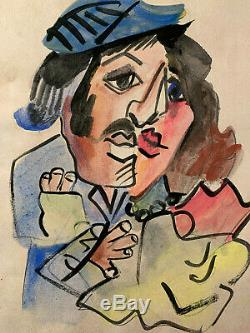 Picasso Watercolour Painting Original Couple Signed