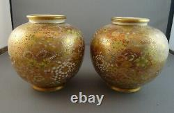 Pretty Pair Meiji Satsuma Mille-Fleur Chrysanthemum Vases Signed Sozan